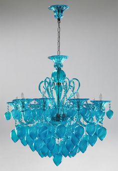 lampara cristales turquesa