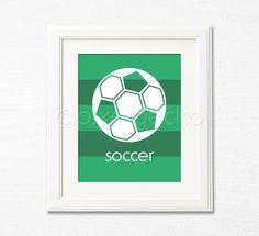 Soccer  Sports Nursery Art Print  8x10  Kids Room by pixelgecko, $14.90