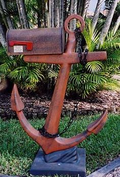 Salvaged Anchor Mailbox DIY for a Beach House in the garden w/o the mailbox of course! at Estate ReSale ReDesign, Bonita Springs, FL Coastal Living, Coastal Decor, Dream Beach Houses, Nautical Home, Nautical Anchor, Beach House Decor, Home Decor, Decor Room, Beach Cottages