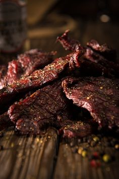 Smoke this hearty Peppered Beef Jerky recipe low and slow then sink your teeth into a pre-historic chunk of protein. What once was ancient necessity is now wood-fired on your Traeger for a gourmet snack. Simple Beef Jerky Recipe, Peppered Beef Jerky Recipe, Deer Jerky Recipe, Homemade Beef Jerky, Smoked Beef Jerky, Jerky Recipe For Smoker, Jerkey Recipes, Traeger Recipes, Baking Center