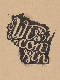 084cfe18aaea3 Wisconsin - Landon Sheely Risograph print available on etsy Types Of  Lettering