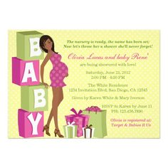 African American Baby Shower Themes | Chic Pink Green Polka Dot Modern Mom Baby Shower Custom Invites from ...