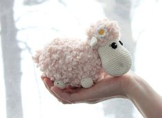 Hand knitted and crocheted toy , Sheep on a Meadow , light pink and cream Sheep , Fuzzy Green Grass Crochet mat with Flowers.