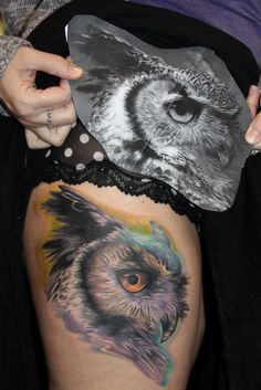 Realistic owl by Audie Fulfer, High Class Tattoo in Fresno, CA