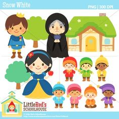 Clip Art - Snow White and the Seven Dwarves - Fairy Tale Clipart $