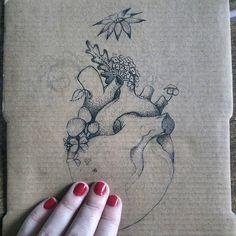 🌱💔  #inprogress #drawing #ink #dots #flora #heart #flowers #saturdaychill