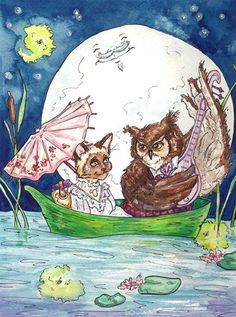 owl and the pussy cat, love the parasol