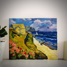 """Original Landscape Painting, """"Provence"""" Acrylic Painting, Landscape Art, Original Artwork, Wall Art Canvas, 35cm(w) x 30cm(h) by AngelinaRunkovaArt on Etsy"""