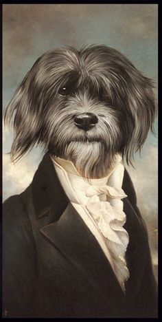 Portrait of dog wearing suit art
