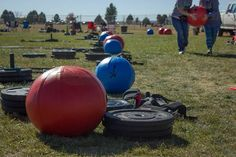 #Movement360 Two of the volunteers setting up the large sloshballs with 50lbs of water for the 200 meter sloshball carry event.