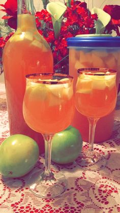 CINNAMON APPLE CIDER SANGRIA  Ingredients: 1 bottle of Apple Wine 1 bottle of White Moscato  1 shot Fireball Whiskey 4 shots Bicardi Rum 1 bottle of ginger ale 1.5 Cups of Apple Cider 1 Tablespoon ground cinnamon   *measurements not exact*