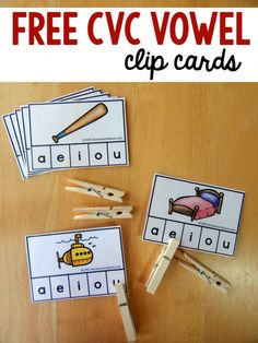 Free clip cards for short vowel words