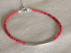 Bar bracelet, simple bracelet, red and silver bar bracelet, noodle bracelet, valentines gift, bridesmaid bracelet, wedding jewelry