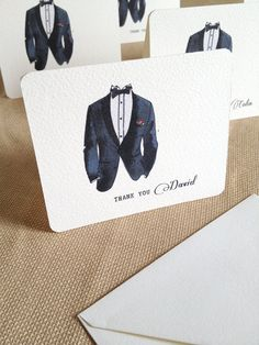 Groomsman Thank You Card with Tuxedo Personalized by hmacdo, $2.50
