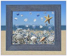 Unique beach window art by luminosities hand painted cast iron crab in a sea of shells starfish sand dollars sea glass and blue frosted gems set in a blue wooden frame measurements are 10 5 Sea Glass Crafts, Sea Glass Art, Mosaic Glass, Glass Artwork, Seashell Art, Seashell Crafts, Window Art, Window Hanging, Window Glass
