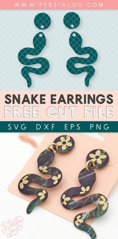 Make your own shrink plastic snake earrings with your Silhouette or Cricut and this free snake earring SVG cut file design!