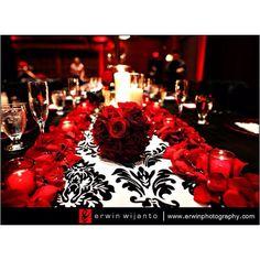 [ Damask Wedding Red Black Wedding Black Red Theme ] - Best Free Home Design Idea & Inspiration Damask Wedding, Gothic Wedding, Red Wedding, Wedding Table, Wedding Colors, Wedding Events, Wedding Reception, Wedding Flowers, Wedding Day