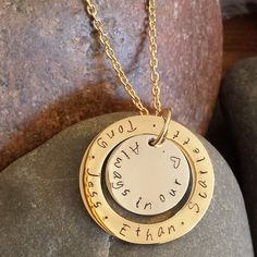 Hand Stamped two tone disc and loop name necklace by SewTree www.sewtree.com