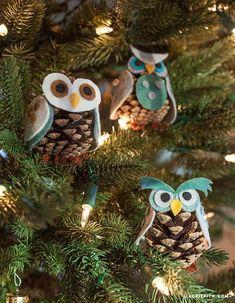 Holiday crafts Pinecones - Kids Craft Pinecone Owls by lia griffith Pinecone Owls, Pinecone Ornaments, Christmas Ornaments, Christmas Ribbon, Christmas Projects, Kids Christmas, Holiday Crafts, Etsy Christmas, Xmas Holidays