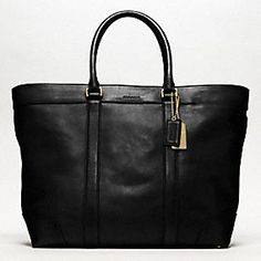 I love tote bags like this Bleecker Legacy Leather Weekend Tote from Coach. They're great for travel.