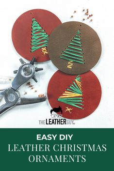 The Leather Guy Simple leather Christmas ornaments, perfect for kids crafts or stocking stuffers! Image Size: 735 x 1102 Source Diy Leather Gifts, Diy Leather Projects, Leather Diy Crafts, Diy Leather Ornaments, Leather Crafting, Handmade Leather, Diy Projects, Easy Yarn Crafts, Fabric Crafts
