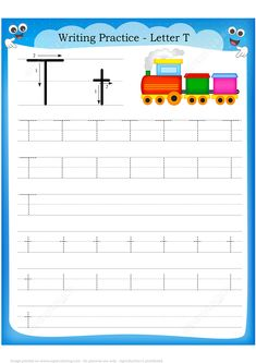 Illustration of Writing practice letter T printable worksheet with clip art for preschool / kindergarten kids to improve basic writing skills vector art, clipart and stock vectors. Handwriting Practice Worksheets, Letter Worksheets, Preschool Worksheets, Printable Worksheets, Preschool Activities, Preschool Writing, Preschool Kindergarten, T Is For Train, Printable Crossword Puzzles