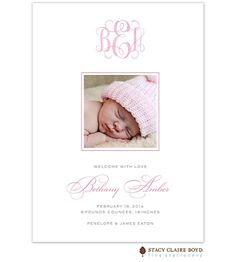 Stacy Claire Boyd | Girl Photo Announcement - Flat | Sweet Welcome - Pink Digital Birth Announcement