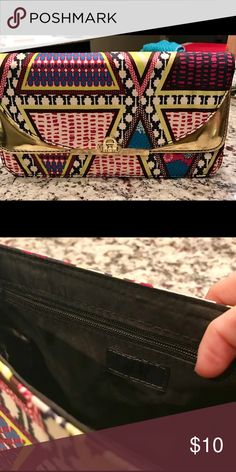 Never used H&M clutch gold and multicolor H&M Bags Clutches & Wristlets