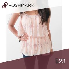 "LC Pretty Floral flounce & Ruffle Top This lovely light pink tank has a delicate floral pattern on its pleated fabric. It's a lovely top for a date night & nice for adding a soft famine look to Fall layers{actual color of item may vary slightly from pics}  *chest:17"" *waist:14.5"" *length:21"" *straps:adjustable *material/care:100%polyester/machine wash  *fit:true *condition:good/no rips/stains  🌸20% off bundles of 3/more items 🌸No Trades  🌸NO HOLDS 🌸No transactions outside Poshmark  🌸No…"