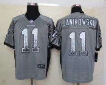 Oakland Raiders #11 Sebastian Janikowski Drift Fashion Grey Elit