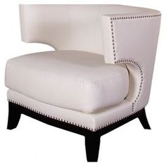 """Bringa touch of glamourto your living room or master suite with thislovelycream accent chair, showcasinga curved back and elegant nailhead-trimmed upholstery.   Product: Chair Construction Material: Faux leather and wood  Color: Cream  Features: Nailhead trim Curved backDimensions: 29"""" H x 30"""" W x 28"""" D"""