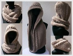 Scoodie strickenThanks for this post.Many knitters now know this scoodie and many have already tried these instructions. Working quickly, he is a nice companion in winter. You can find more color and yarn variants here in the b# Knit Poncho Crochet, Poncho Knitting Patterns, Crochet Diy, Free Knitting, Baby Knitting, Crochet Patterns, Patterned Socks, Knitting Projects, Diy Fashion
