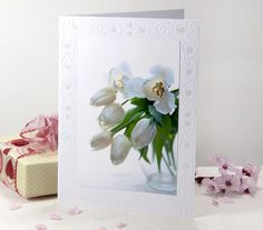 White dreamy tulips blank note card with  dreamy white tulips.