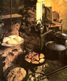 Irish Soda Bread (which Irish call wheaten bread) The cooking/baking hearth of an Irish cottage, circa courtesy Ulster Folk and Transport Museum Irish Soda Bread Recipe, Ireland Food, European Cuisine, Irish Cottage, English Food, Irish Recipes, People Eating, Pain, Bread Recipes