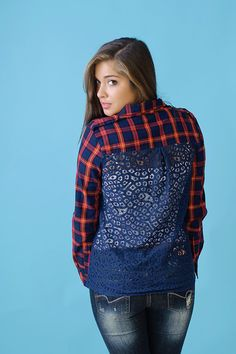 Plaid button up top with roll-up sleeves and contrasting lacey design back. Red & blue