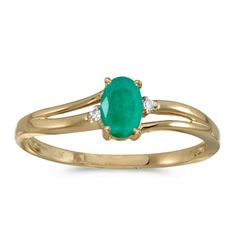 14k Yellow Gold Oval Emerald And Diamond Ring Size 6 *** Want to know more, click on the image. #XmasWomenClothing