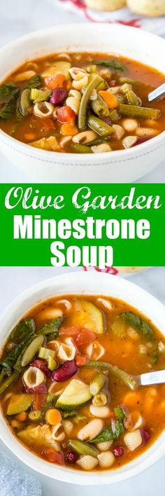 Olive Garden Minestrone Soup - Make the classic minestrone soup at home! This soup is made all in one pan, is full of all sorts of veggies and even pasta, all in a delicious rich tomato based broth. Best Soup Recipes, Chili Recipes, Copycat Recipes, Dinner Recipes, Easy Recipes, Favorite Recipes, Light Recipes, Amazing Recipes, Delicious Recipes