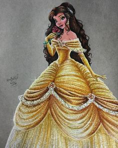 Belle - Disney Princess Drawings by Max Stephen beauty and the beast Disney Belle, Bella Disney, Disney Girls, Disney Love, Disney Magic, Disney Princess Drawings, Princess Art, Disney Drawings, Disney Princess Dresses