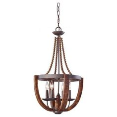 Feiss Adan 4-Light Rustic Iron/Burnished Wood Single Tier Chandelier-F2753/4RI/BWD - The Home Depot