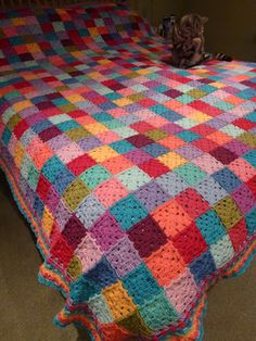 Thrifty MummyHen Granny square patchwork blanket Stylecraft, but unknown colours