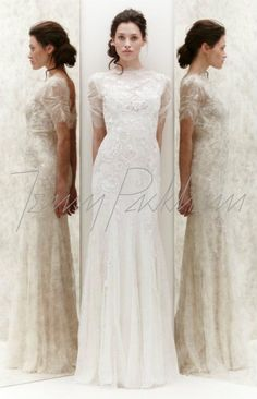 Vintage and trendy.   Wedding dress with lace and transparency. by Jenny Packham. collection 2013