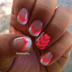 """Simple pink and white French manicure, with a """"chevron"""" accent nail, I really love this! The pink is china glaze, flip flop fantasy. My favorite neon pink of all time. Hope you enjoy! Have a great Friday everyone! - @nailsbylins- #webstagram"""