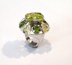 Vintage Sterling Silver Emerald Cut Peridot & Citrine Green