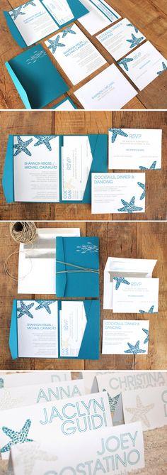 Modern Beach Wedding Stationary With Hand Embossed Starfish Design Desireedreszer