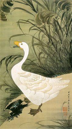 Ito Jakuchu 動植綵絵 Doshoku Sai-e Title: 芦鵞図 Ro Ga-zu(Goose and Reeds) c 1761 Japanese Painting, Chinese Painting, Chinese Art, Art Canard, Art Asiatique, Art Japonais, Japanese Prints, Japan Art, Woodblock Print