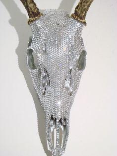 Crystal Rhinestones | Deer Skull Crystal Rhinestones Art by MayaJadeCreations on Etsy