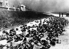 Helmets of British and French soldiers left at Dunkirk.