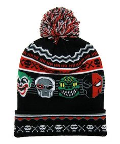3b2c9c6bc33 Show off some comic book flair and keep toasty warm with this snug cuffed  beanie boasting