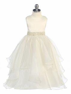 Ivory layered dress with gold sequin/beaded waistband. @ pinkprincess.com. $54