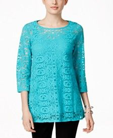 Alfani Mesh Lace Top, Only at Macy's